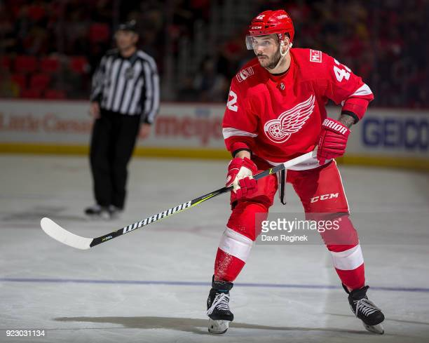 Martin Frk of the Detroit Red Wings skates up ice against the Nashville Predators during an NHL game at Little Caesars Arena on February 20 2018 in...