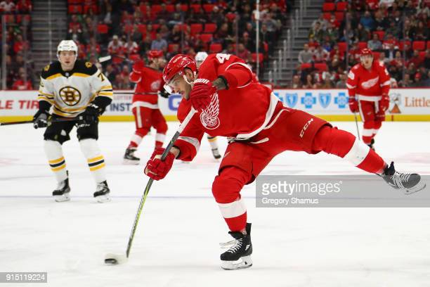 Martin Frk of the Detroit Red Wings takes a second period shot while playing the Boston Bruins at Little Caesars Arena on February 6 2018 in Detroit...