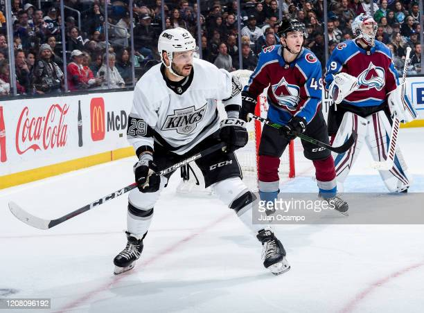 Martin Frk of the Los Angeles Kings and Samuel Girard and goaltender Pavel Francouz of the Colorado Avalanche look on during the third period of the...