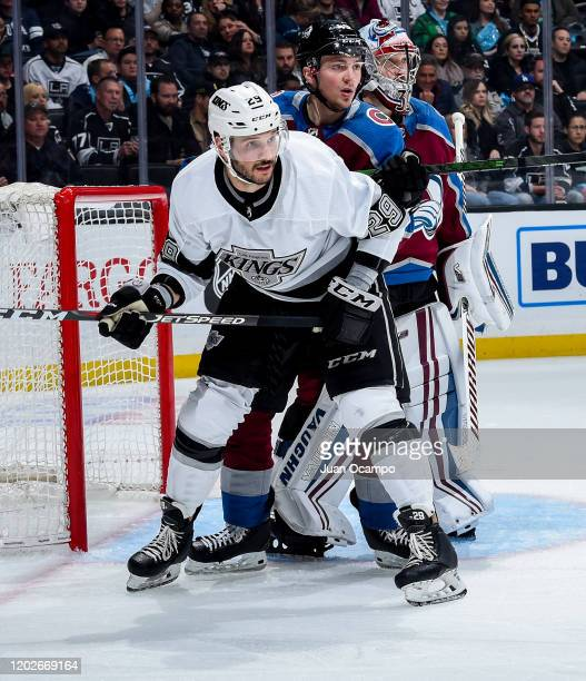 Martin Frk of the Los Angeles Kings battles for position with Samuel Girard and goaltender Pavel Francouz of the Colorado Avalanche during the third...