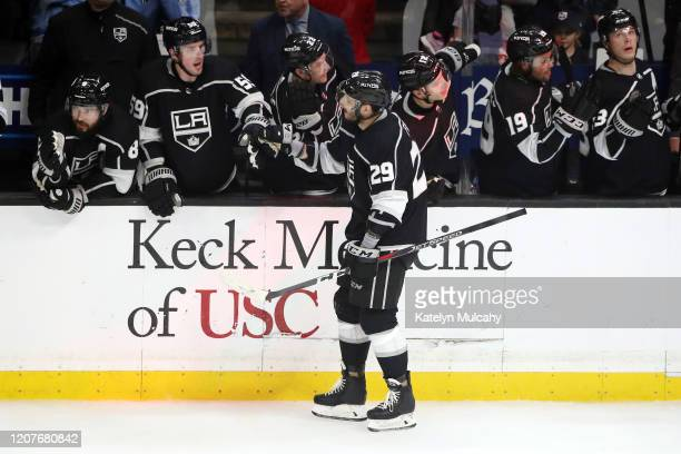Martin Frk of the Los Angeles Kings celebrates his goal during the second period in a 54 win against the Florida Panthers at Staples Center on...