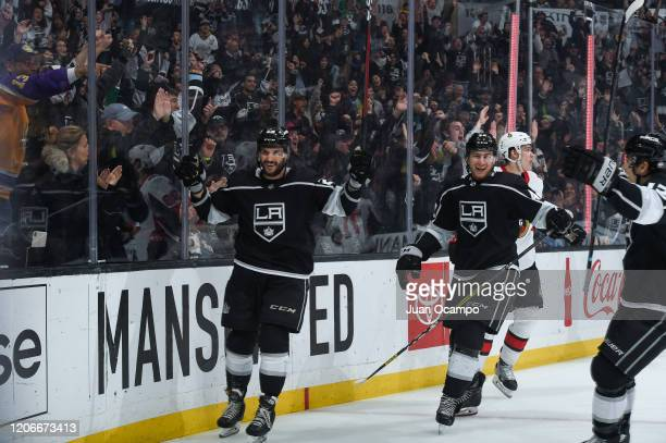 Martin Frk of the Los Angeles Kings celebrates his goal with Gabriel Vilardi and Trevor Moore during the third period against the Ottawa Senators at...