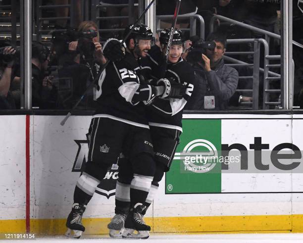 Martin Frk of the Los Angeles Kings celebrates his goal with Trevor Moore to take a 32 lead over the Ottawa Senators during the third period in a 32...