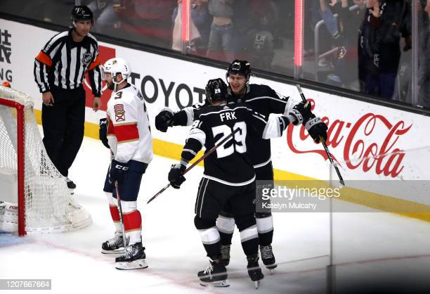 Martin Frk of the Los Angeles Kings celebrates with Gabriel Vilardi after scoring a goal during the second period against the Florida Panthers at...