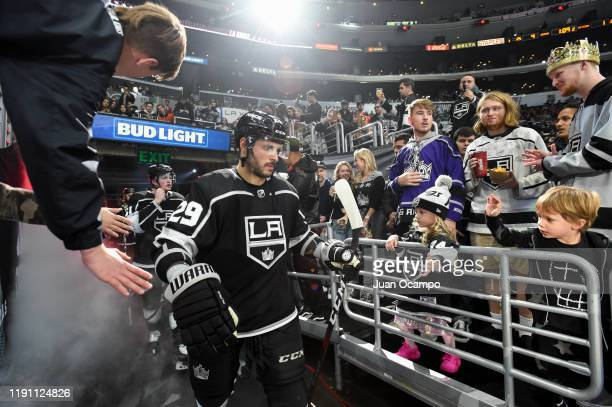 Martin Frk of the Los Angeles Kings high fives fans prior to the third period against the Philadelphia Flyers at STAPLES Center on December 31 2019...