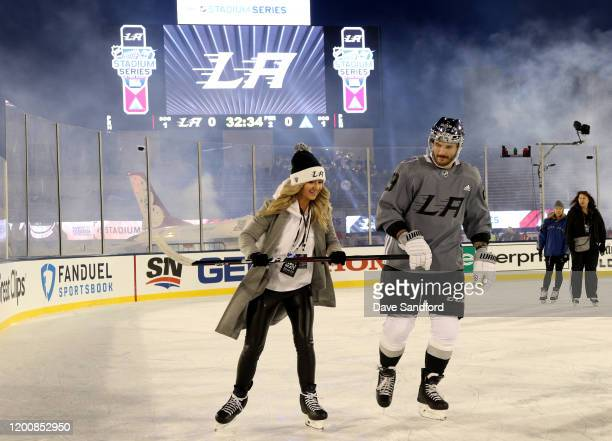 Martin Frk of the Los Angeles Kings skates during Los Angeles Kings practice and family skate prior to the 2020 NHL Stadium Series game against the...