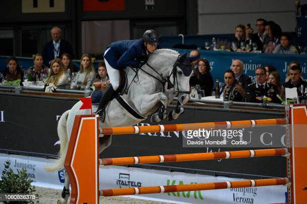 Martin Fuchs of Switzerland riding Clooney 51 during the Longines FEI Jumping World Cup Verona 2018 CSI5*W on October 28 2018 in Verona Italy