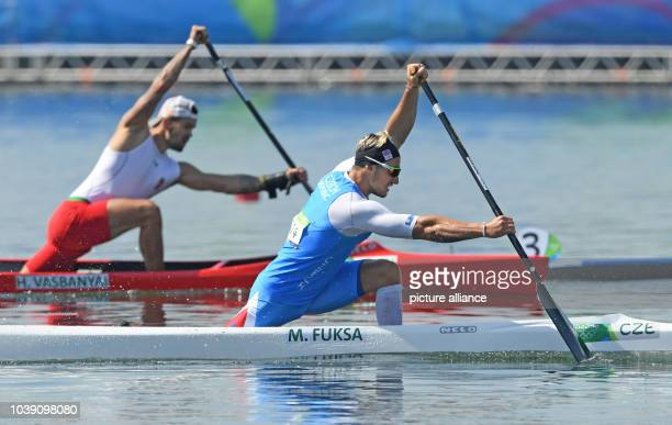 Martin Fuksa of Czechia in action during the Men's Canoe Single 1000m Heats of the Canoe Sprint events during the Rio 2016 Olympic Games at Lagoa...