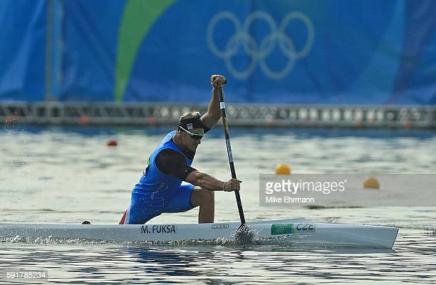 Martin Fuksa of the Czech Republic competes during the Men's Canoe Single 200m Final B at the Lagoa Stadium on Day 13 of the 2016 Rio Olympic Games...
