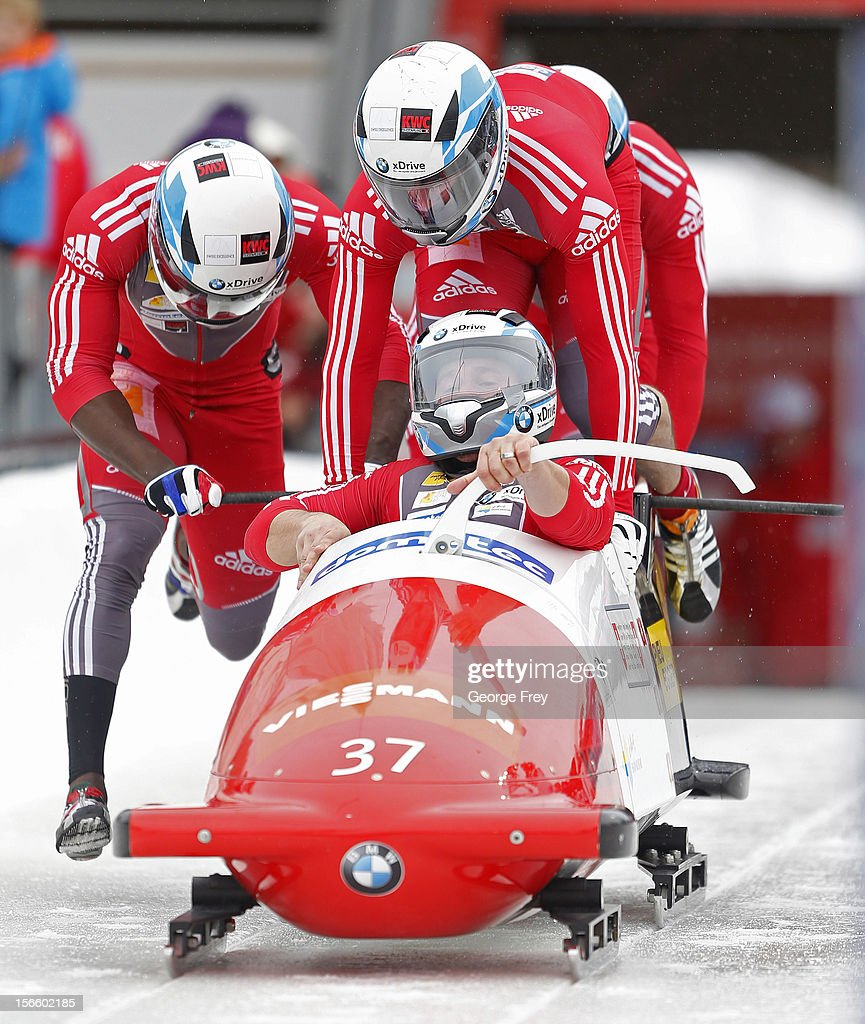 Martin Galliker drives Switzerland 2 sled to a ninth place finish in the FIBT Men's Four Man Bobsled World Cup Heat 1 at Utah Olympic Park on November 17, 2012 in Park City, Utah.