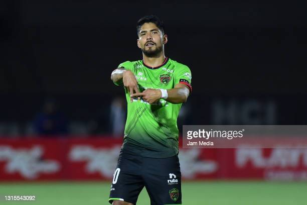 Martin Galvan of Juarez celebrates after scoring his team's first goal during the 17th round match between FC Juarez and Toluca as part of the Torneo...