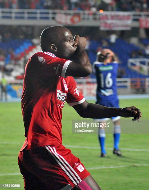 Martin Garcia of America de Cali celebrates a scored goal during a match between America de Cali and Rionegro as part of 12th round of Torneo...