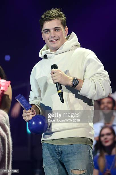 Martin Garrix accepts the award for Best Electronic on stage at the MTV Europe Music Awards 2016 on November 6 2016 in Rotterdam Netherlands