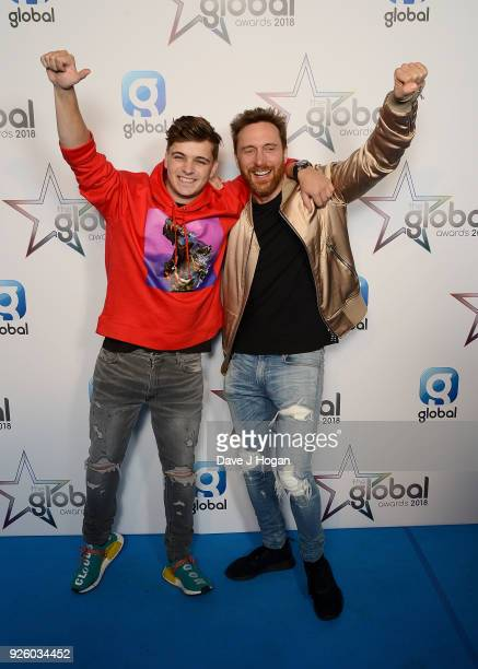 Martin Garrix and David Guetta attend The Global Awards 2018 at Eventim Apollo Hammersmith on March 1 2018 in London England
