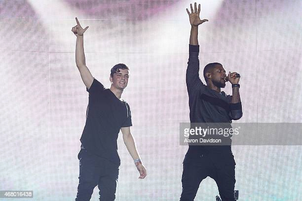 Martin Garrix and Usher perform at Ultra Music Festival at Bayfront Park Amphitheater on March 28 2015 in Miami Florida