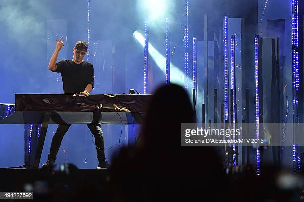 Martin Garrix performs at the outside broadcast during the MTV EMA's 2015 at Duomo on October 25 2015 in Milan Italy