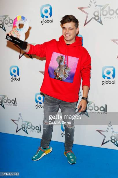 Martin Garrix winner of the Best Pop Dance award attends The Global Awards 2018 at Eventim Apollo Hammersmith on March 1 2018 in London England