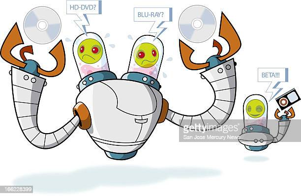 Martin Gee color illustration of confused twoheaded robot deciding between HDDVD or BLURAY discs while little laughing robot in background holds a...