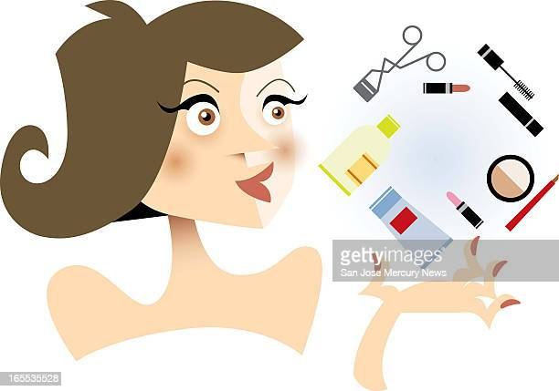 Martin Gee color illustration of stylish woman and her basic beauty products lipstick mascara foundation etc
