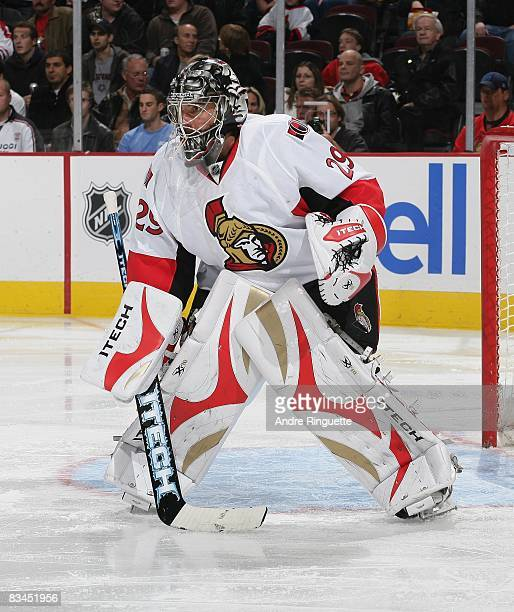 Martin Gerber of the Ottawa Senators guards his net against the Florida Panthers at Scotiabank Place on October 22 2008 in Ottawa Ontario Canada