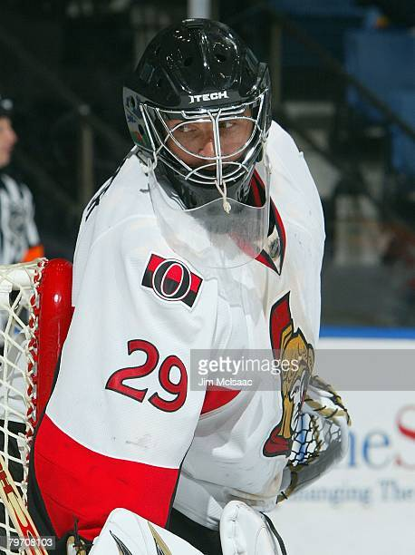 Martin Gerber of the Ottawa Senators looks on against the New York Islanders on January 29, 2008 at Nassau Coliseum in Uniondale, New York.