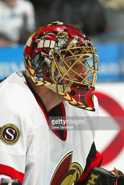 Martin Gerber of the Ottawa Senators looks on against the Toronto Maple Leafs at the Air Canada Centre on October 24 2006 in Toronto Ontario Canada...