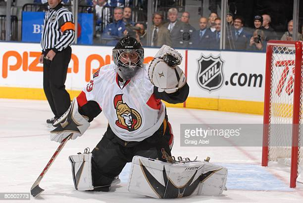 Martin Gerber of the Ottawa Senators makes a save during the game against the Toronto Maple Leafs on November 17, 2007 at the Air Canada Centre in...