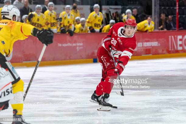 Martin Gernat of Lausanne HC shoots on goal during the Swiss National League game between Lausanne HC and SC Bern at Vaudoise Arena on September 28,...