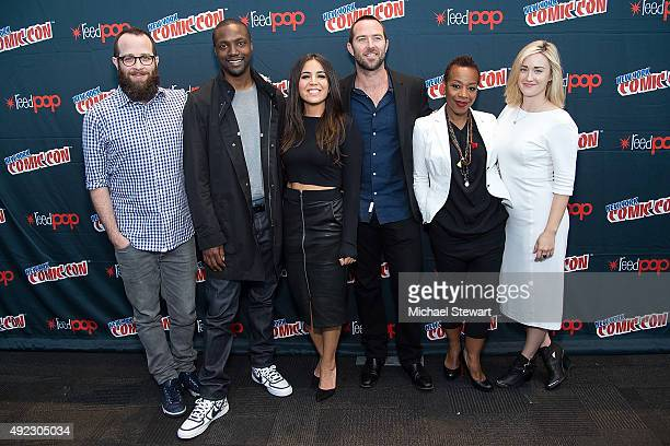 "Martin Gero, Rob Brown, Audrey Esparza, Sullivan Stapleton, Marianne Jean-Baptiste and Ashley Johnson pose in the press room for the ""Blindspot""..."