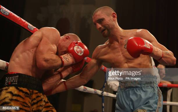 Martin Gethin and Ben Murphy during the Vacant British Lightweight Championship at the Walsall Town Hall, Walsall.