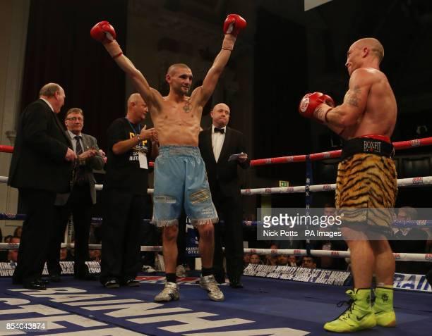Martin Gethin celebrates winning the Vacant British Lightweight Championship beating Ben Murphy at Walsall Town Hall, Walsall.