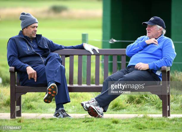 Martin Gilbert and Joseph Lopez take a seat during Day three of the Alfred Dunhill Links Championship at Carnoustie Golf Links on September 28 2019...