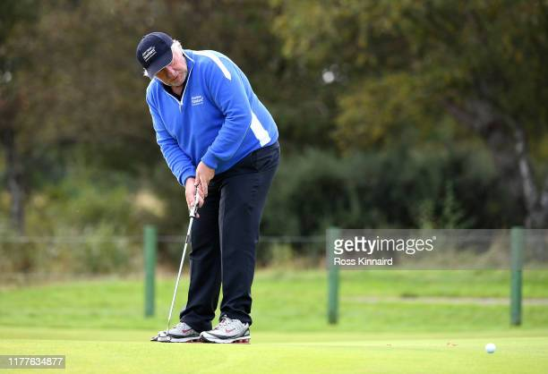 Martin Gilbert putts on the 8th hole during Day three of the Alfred Dunhill Links Championship at Carnoustie Golf Links on September 28 2019 in St...