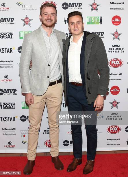 Martin Gleeson and Orazio Fantasia of the Bombers pose during the 2018 AFL Players' MVP Awards at the Basement on August 30 2018 in Melbourne...