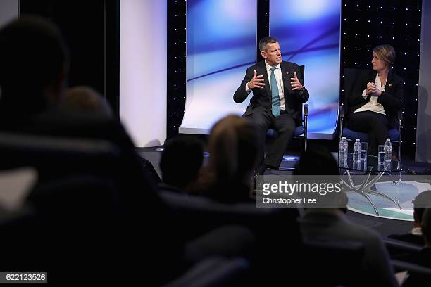 Martin Glenn CEO of The FA and Kelly Simmons Participation and Development Director at The FA talk on stage during the Sport Industry Breakfast Club...