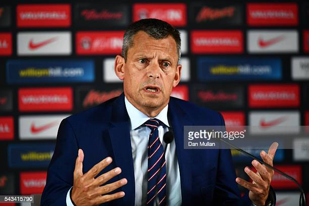 Martin Glenn CEO of the FA speaks during a press conference with Roy Hodgson on June 28 2016 in Chantilly France