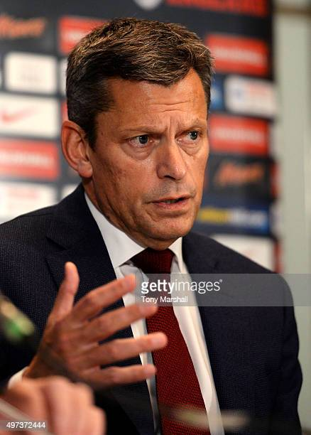 Martin Glenn CEO of The FA speaks during the England Press Conference at The Grove Hotel on November 16 2015 in Hertford England