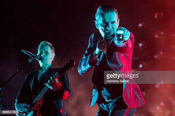 Martin Gore and Dave Gahan of Depeche Mode perform at Mattress Firm Amphitheatre on October 6, 2017 in Chula Vista, California.