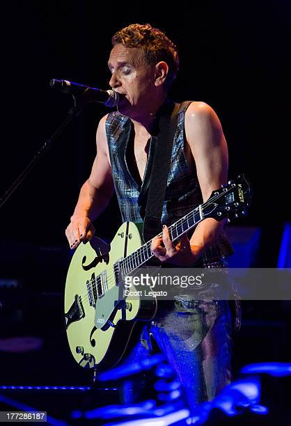 Martin Gore of Depeche Mode performs during their tour opener in support of The Delta Machine Tour at the DTE Energy Music Theater on August 22 2013...