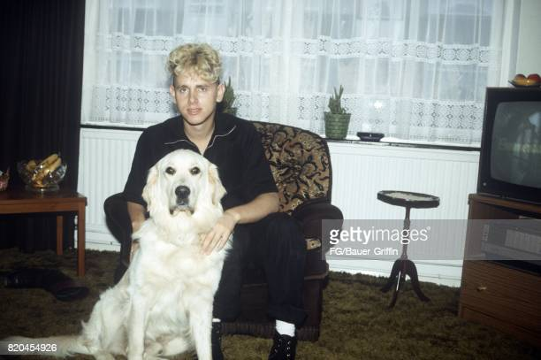 Martin Gore of the pop group Depeche Mode poses for a portrait with his dog at his house on September 05 1982 in London England 170612F1