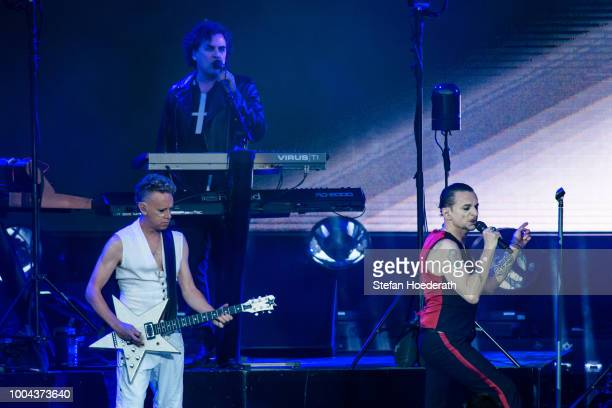 Martin Gore Peter Gordeno and Dave Gahan of Depeche Mode perform live on stage during a concert at Waldbuehne on July 23 2018 in Berlin Germany