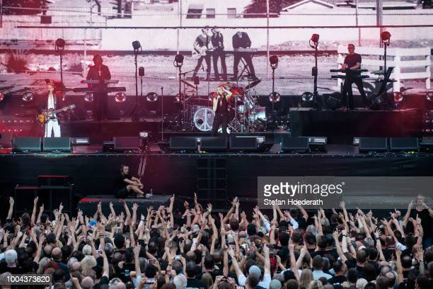 Martin Gore Peter Gordeno Dave Gahan and Andrew Fletcher of Depeche Mode perform live on stage during a concert at Waldbuehne on July 23 2018 in...