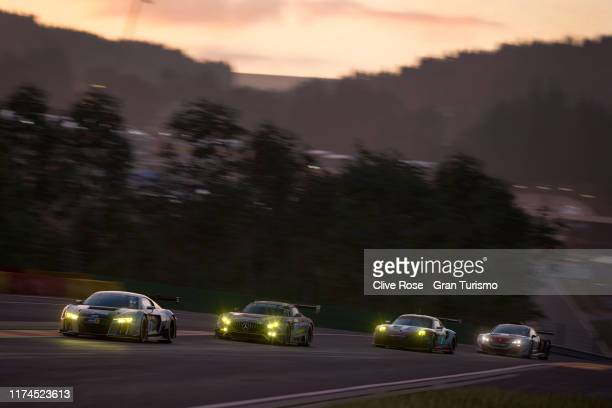 Martin Grady of Great Britain and team Audi leads into turn one of the Manufacturer Series Final during round four of the FIA Gran Turismo World Tour...
