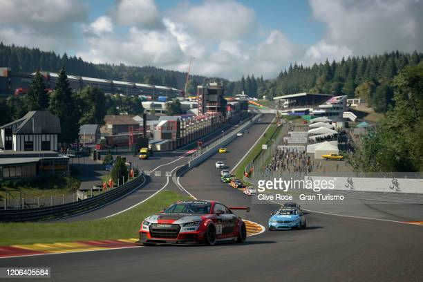 Martin Grady of Great Britain and Team Audi leads Race 1 of the Manufacturer Series during Round 1 of the FIA Gran Turismo World Tour 2020 held at...