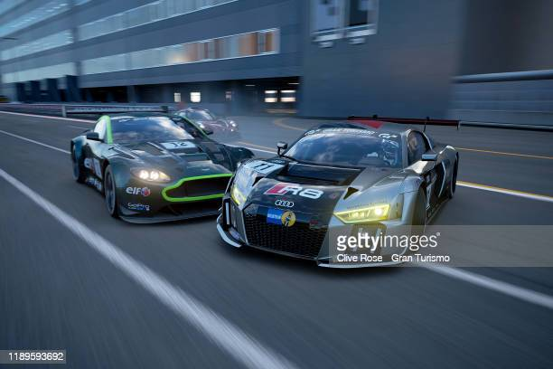 Martin Grady of Great Britain and Team Audi spins with Fabian Portilla of Chile and Team Aston Martin in the Grand Final of the Manufacturer Series...