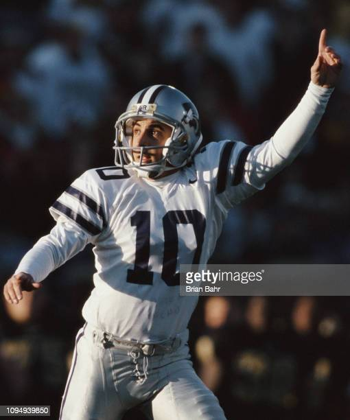 Martin Gramatica, Kicker for the Kansas State Wildcats celebrates during the NCAA Big-12 Conference college football game against the University of...