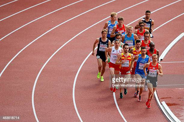 Martin Grau of Germany leads the pack in the Men's 3000 metres Steeplechase heats during day one of the 22nd European Athletics Championships at...