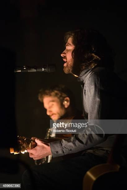 Martin Green and Kris Drever of Lau perform on stage at Queens Hall on November 27 2014 in Edinburgh United Kingdom