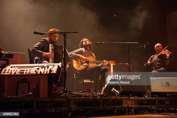 Martin Green Kris Drever and Aidan O'Rourke of Lau perform on stage at Queens Hall on November 27 2014 in Edinburgh United Kingdom