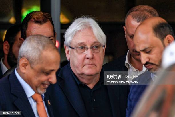 Martin Griffiths , the UN special envoy for Yemen, arrives at Sanaa international airport on February 11, 2019. - Food aid in a warehouse on the...